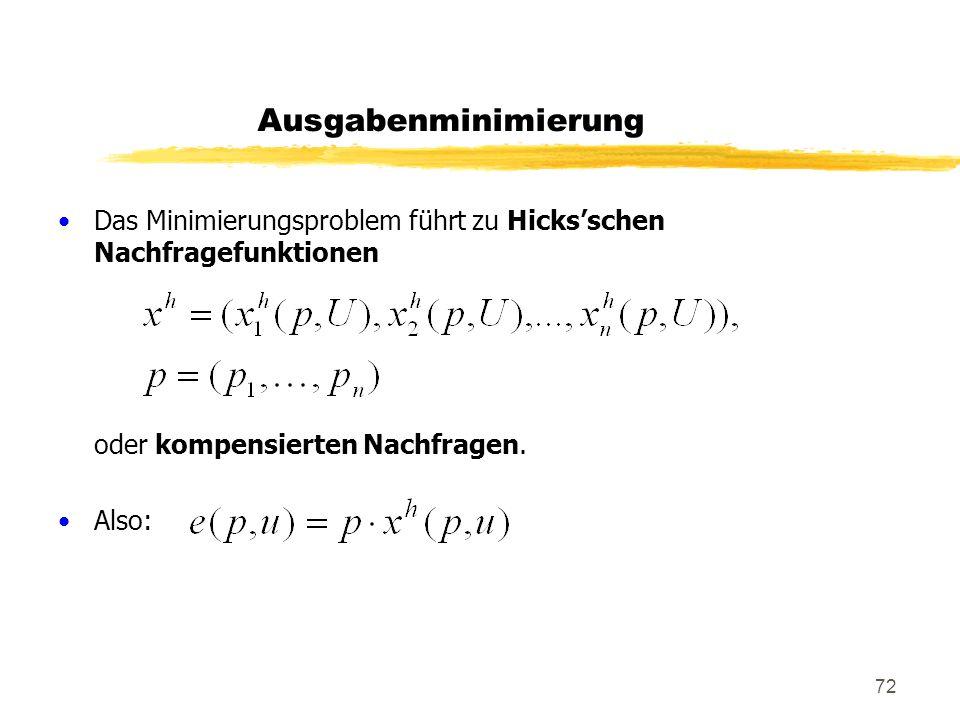 Ausgabenminimierung Das Minimierungsproblem führt zu Hicks'schen Nachfragefunktionen. oder kompensierten Nachfragen.