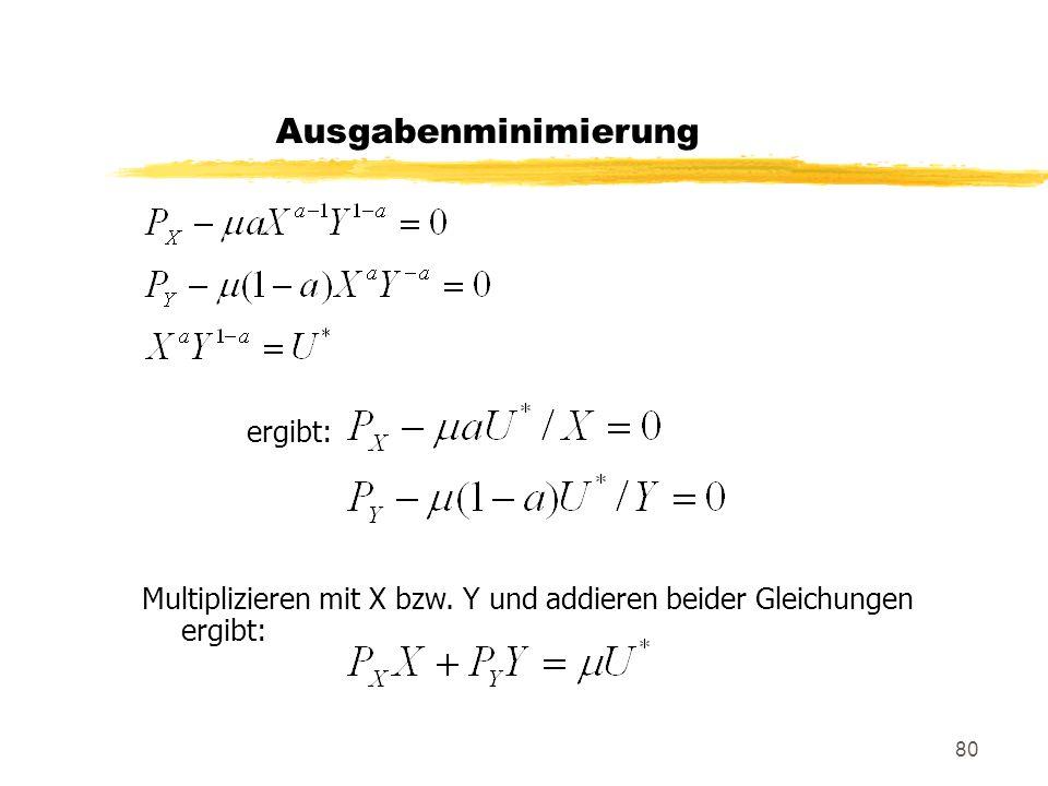 Ausgabenminimierung ergibt: Multiplizieren mit X bzw. Y und addieren beider Gleichungen ergibt: