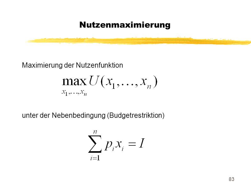 Nutzenmaximierung Maximierung der Nutzenfunktion