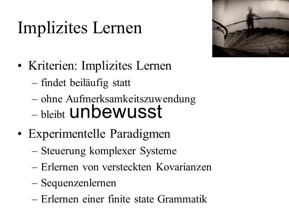 Implizites Lernen Kriterien: Implizites Lernen