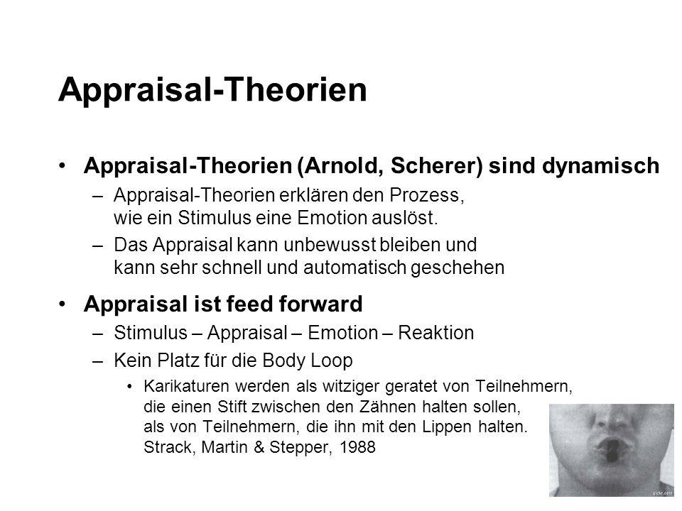 Appraisal-Theorien Appraisal-Theorien (Arnold, Scherer) sind dynamisch