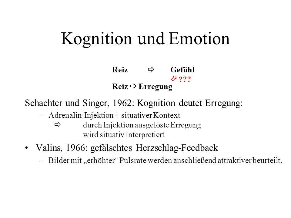 Kognition und Emotion Reiz  Gefühl.  Reiz  Erregung. Schachter und Singer, 1962: Kognition deutet Erregung: