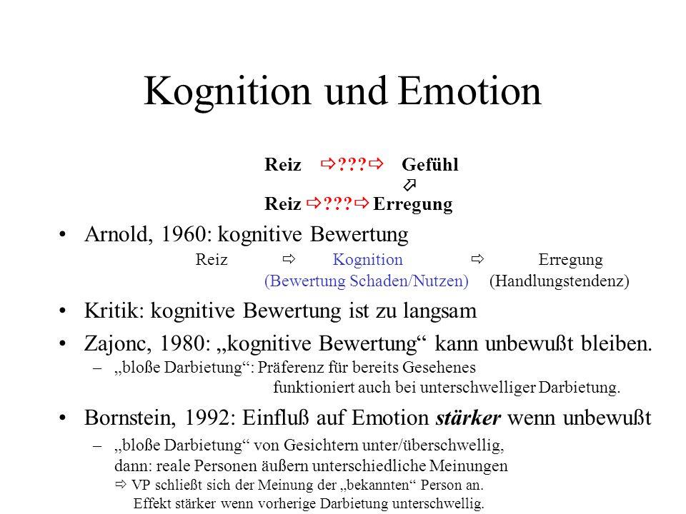 Kognition und Emotion Reiz   Gefühl.  Reiz   Erregung.