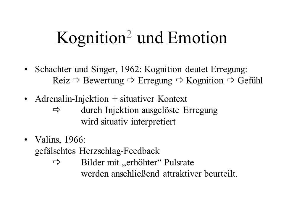 Kognition2 und Emotion Schachter und Singer, 1962: Kognition deutet Erregung: Reiz  Bewertung  Erregung  Kognition  Gefühl.