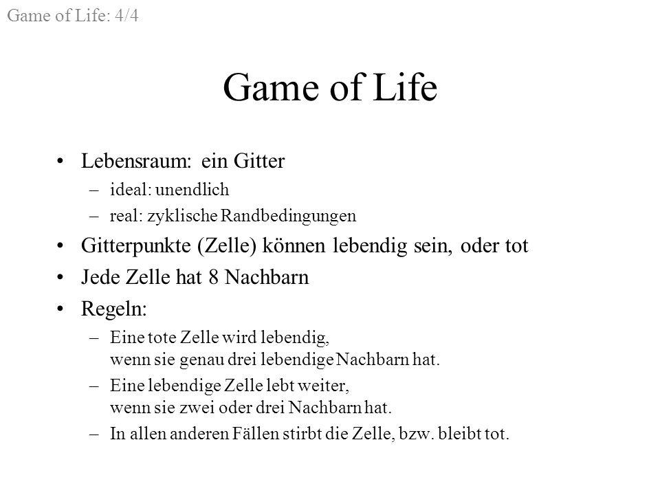 Game of Life Lebensraum: ein Gitter