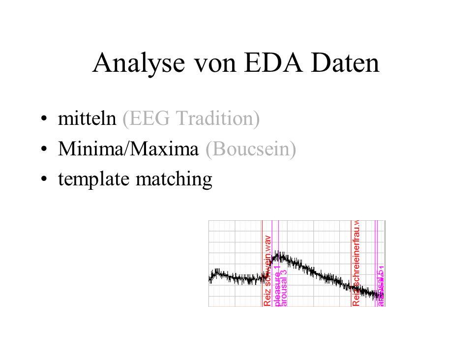 Analyse von EDA Daten mitteln (EEG Tradition) Minima/Maxima (Boucsein)