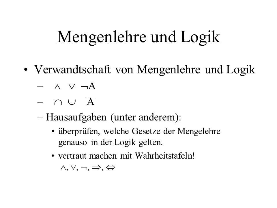 Mengenlehre und Logik Verwandtschaft von Mengenlehre und Logik   A