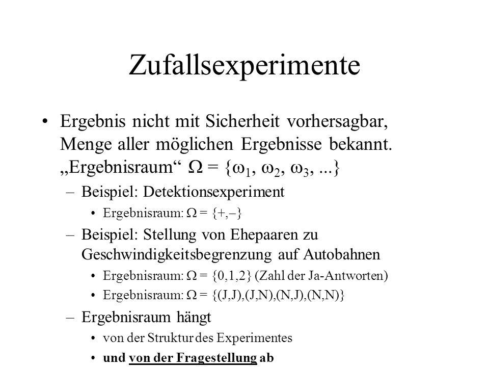 """Zufallsexperimente Ergebnis nicht mit Sicherheit vorhersagbar, Menge aller möglichen Ergebnisse bekannt. """"Ergebnisraum  = {1, 2, 3, ...}"""