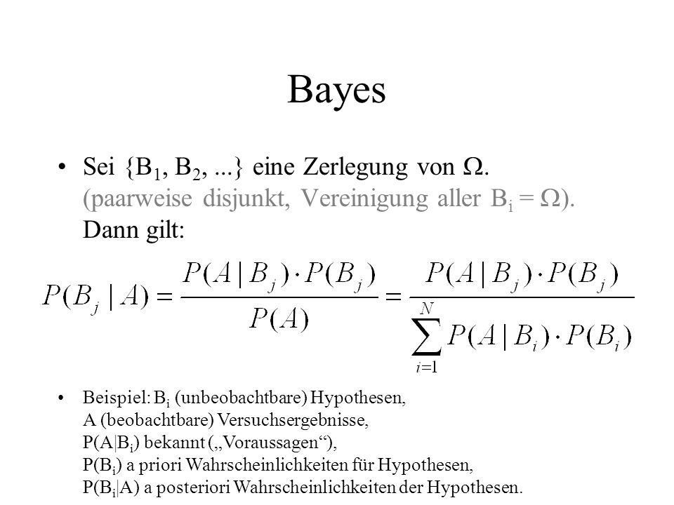 Bayes Sei {B1, B2, ...} eine Zerlegung von . (paarweise disjunkt, Vereinigung aller Bi = ). Dann gilt: