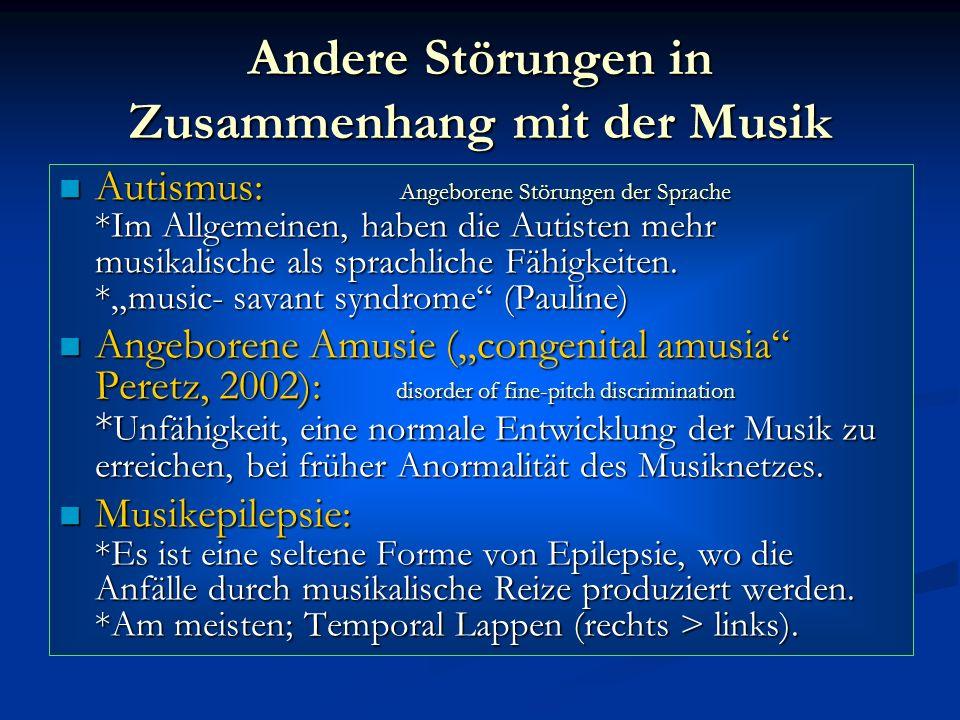Andere Störungen in Zusammenhang mit der Musik