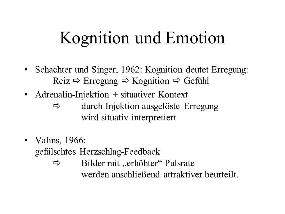 Kognition und EmotionSchachter und Singer, 1962: Kognition deutet Erregung: Reiz  Erregung  Kognition  Gefühl.