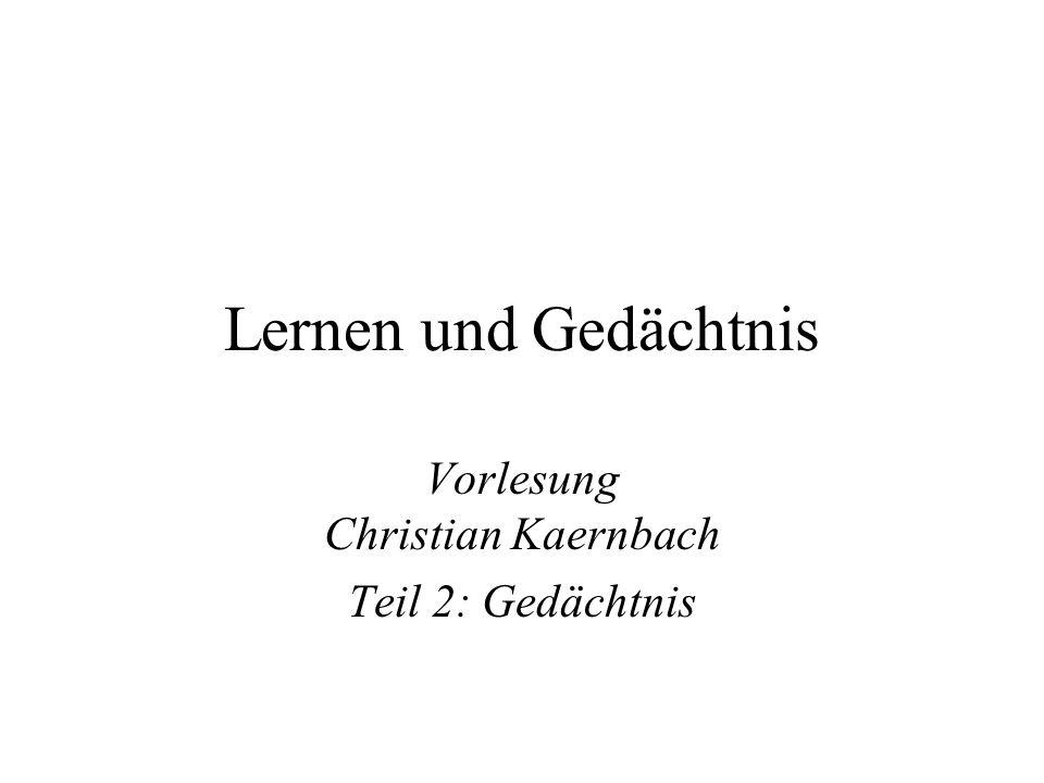Vorlesung Christian Kaernbach Teil 2: Gedächtnis