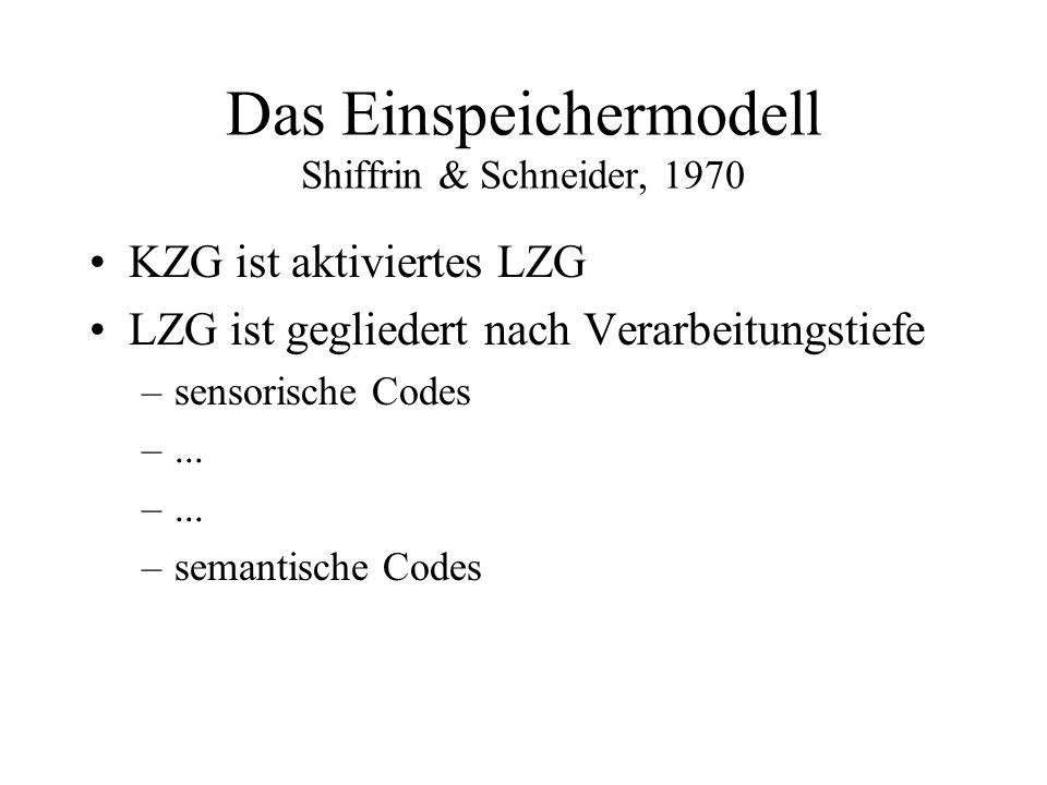 Das Einspeichermodell Shiffrin & Schneider, 1970