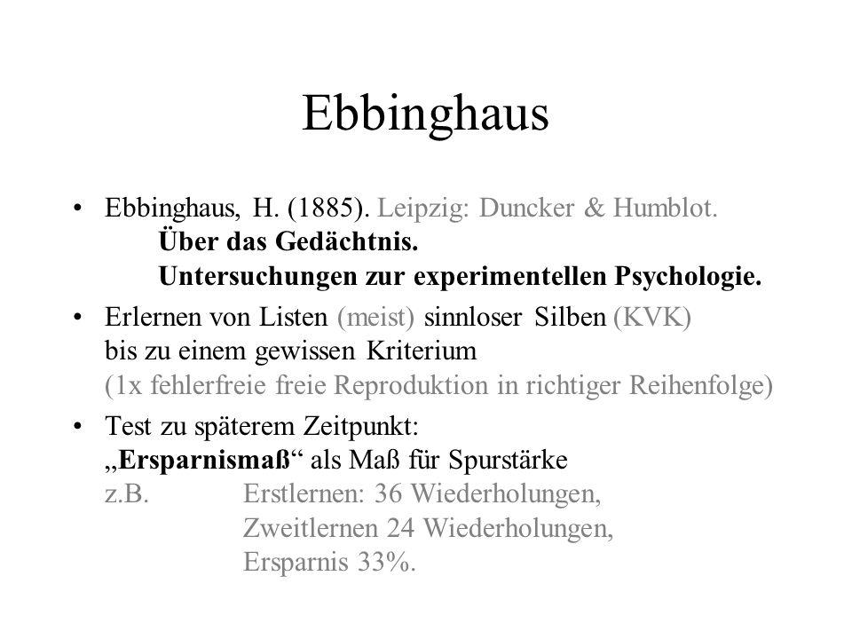 Ebbinghaus Ebbinghaus, H. (1885). Leipzig: Duncker & Humblot. Über das Gedächtnis. Untersuchungen zur experimentellen Psychologie.