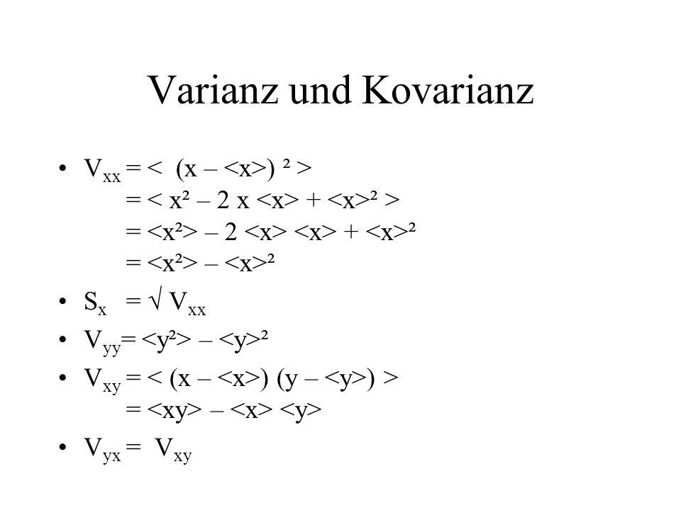 Varianz und Kovarianz Vxx = < (x – <x>) ² >