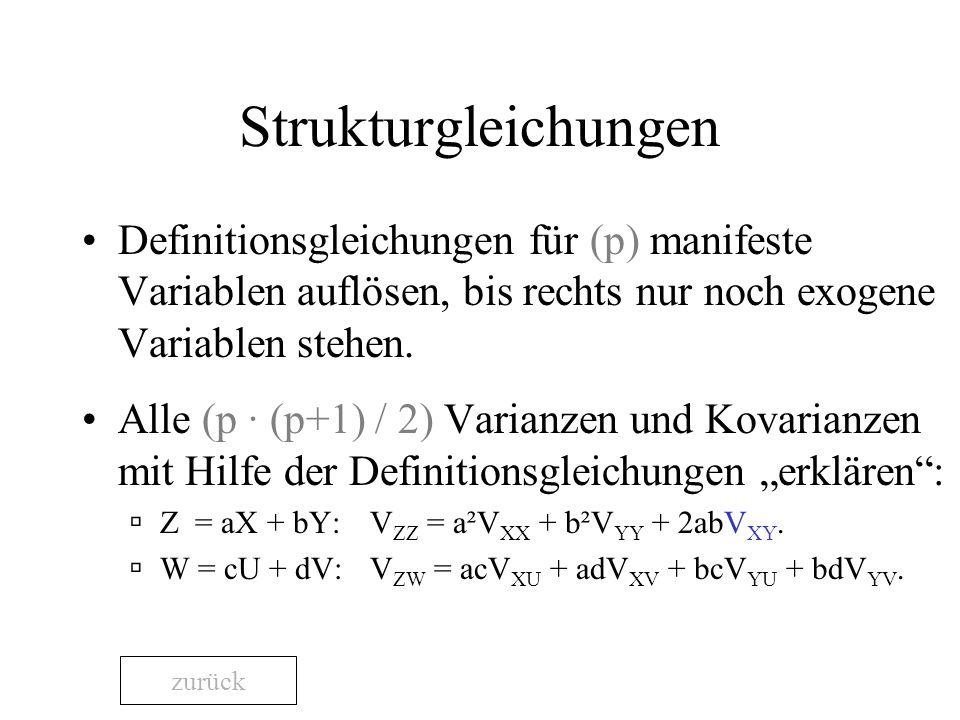 Strukturgleichungen Definitionsgleichungen für (p) manifeste Variablen auflösen, bis rechts nur noch exogene Variablen stehen.