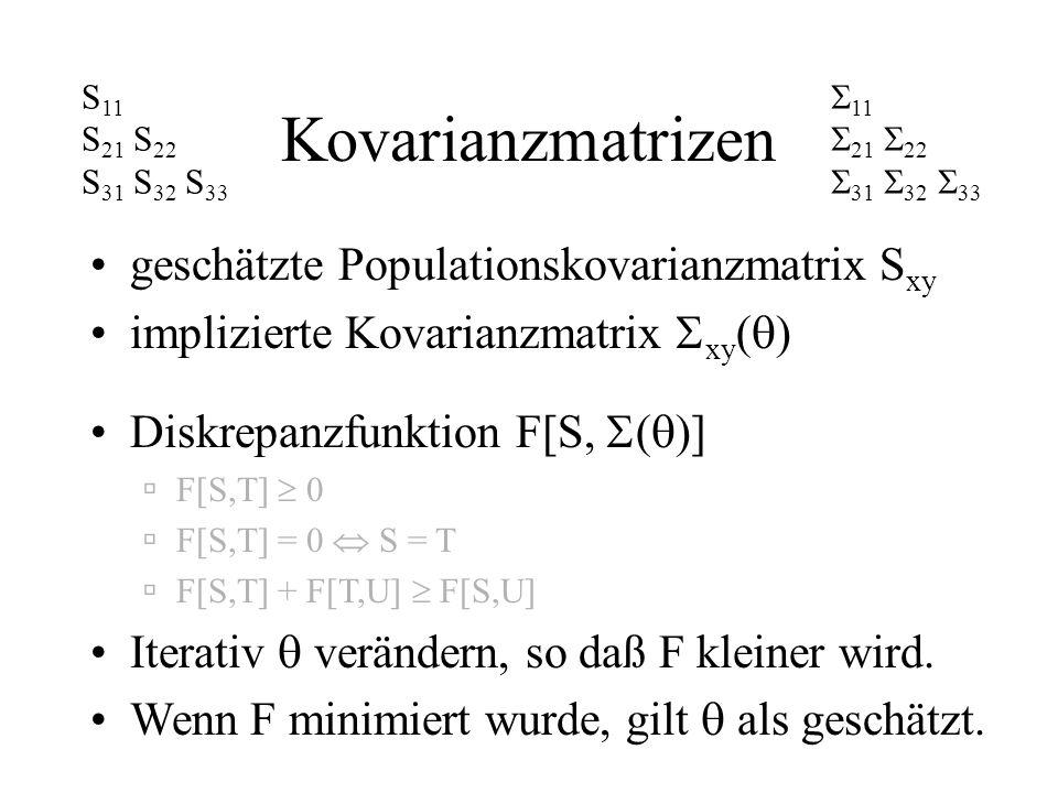 Kovarianzmatrizen geschätzte Populationskovarianzmatrix Sxy