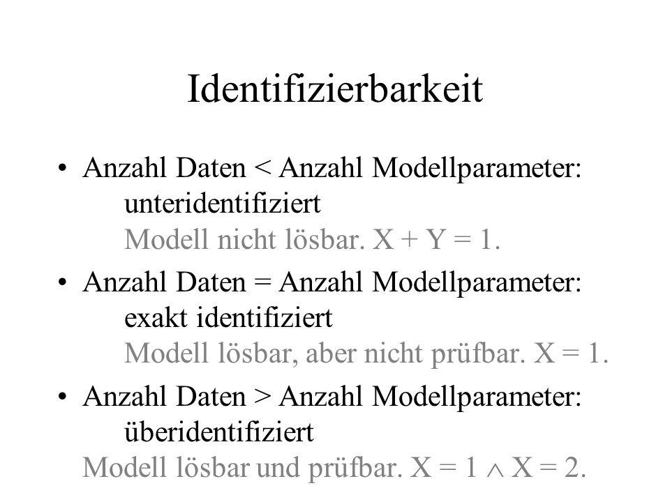 Identifizierbarkeit Anzahl Daten < Anzahl Modellparameter: unteridentifiziert Modell nicht lösbar. X + Y = 1.