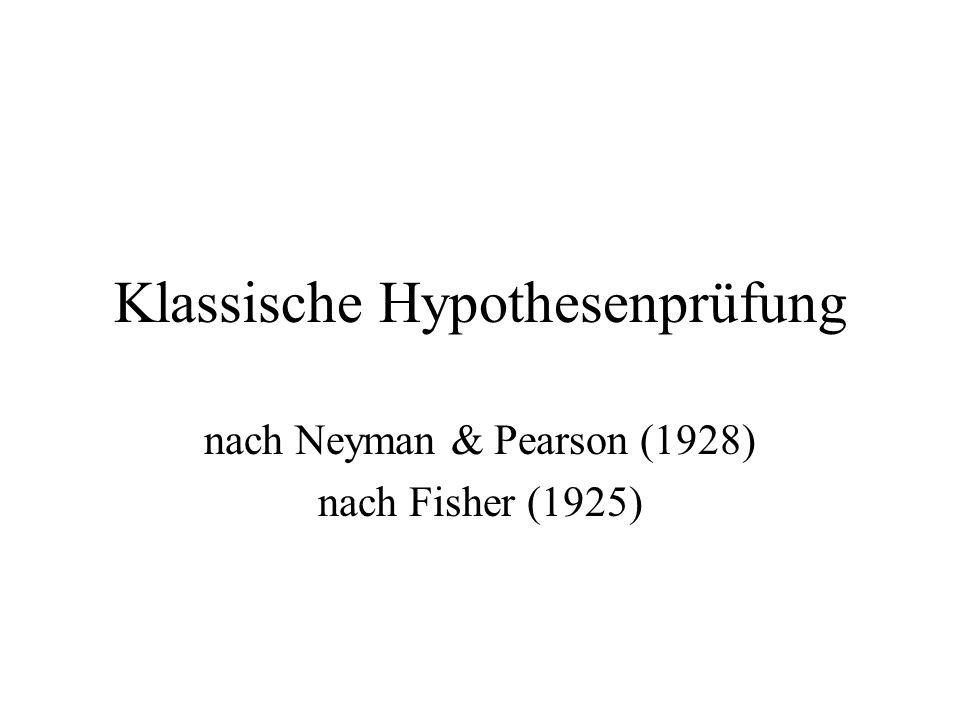 Klassische Hypothesenprüfung