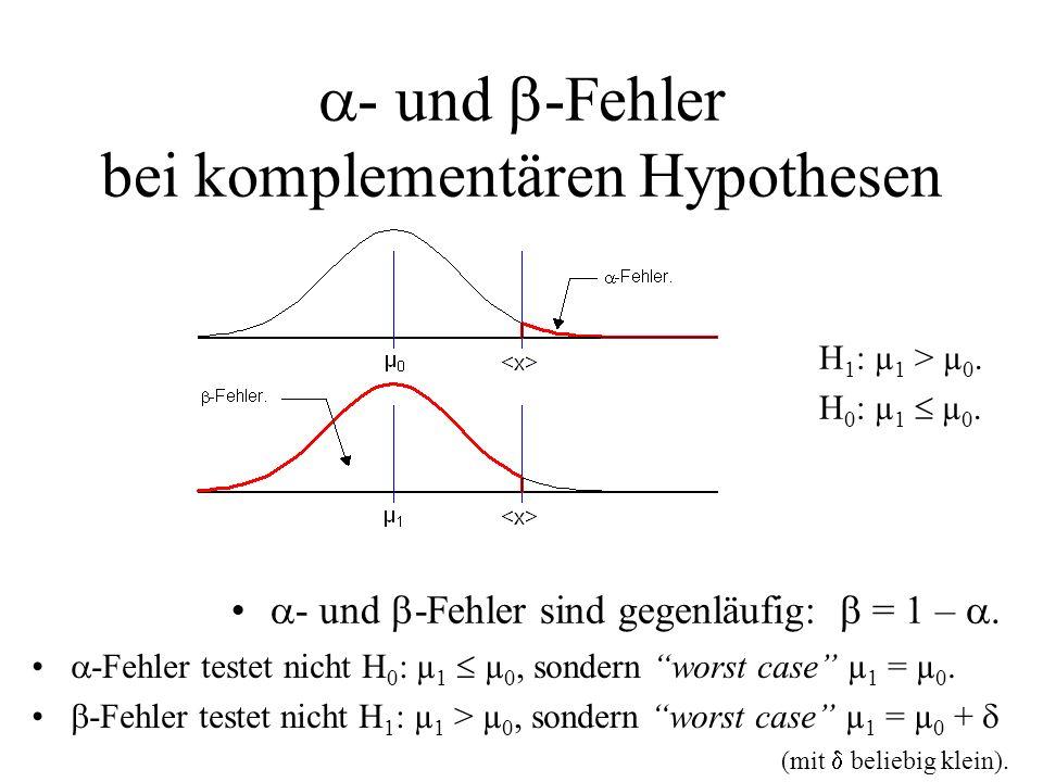 - und -Fehler bei komplementären Hypothesen