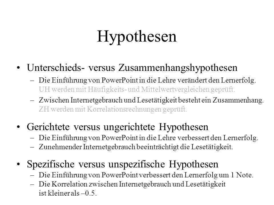 Hypothesen Unterschieds- versus Zusammenhangshypothesen
