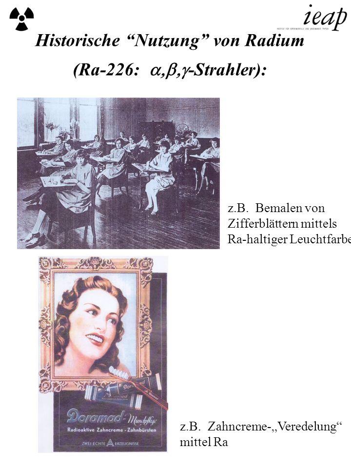 Historische Nutzung von Radium (Ra-226: a,b,g-Strahler):