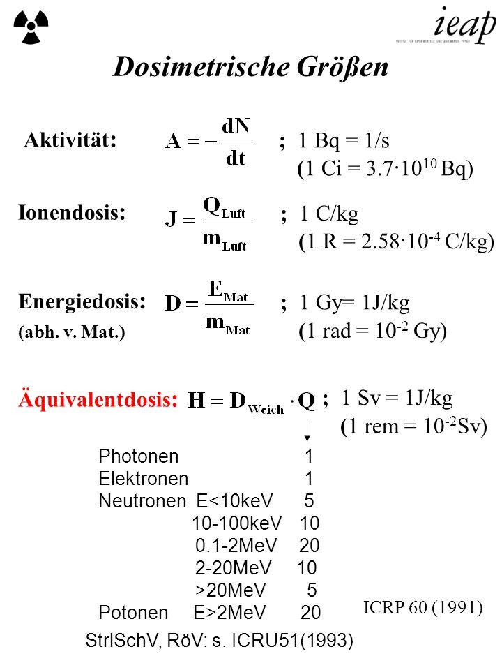 Dosimetrische Größen Aktivität: ; 1 Bq = 1/s (1 Ci = 3.7·1010 Bq)
