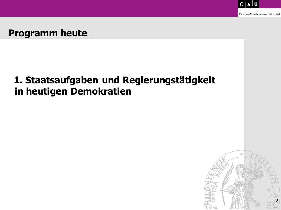 Programm heute 1. Staatsaufgaben und Regierungstätigkeit in heutigen Demokratien
