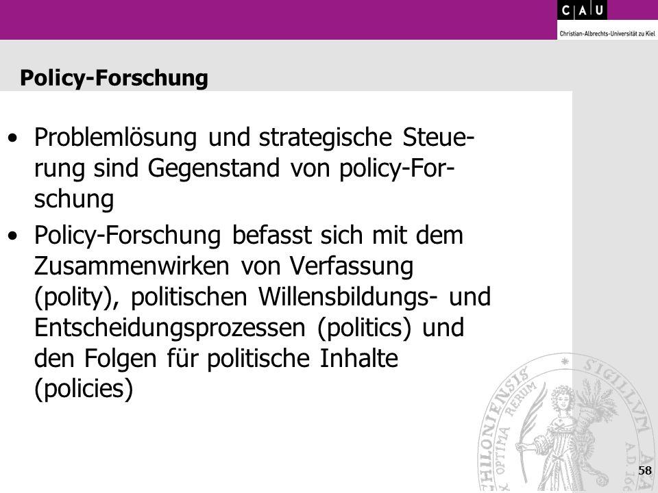 Policy-ForschungProblemlösung und strategische Steue-rung sind Gegenstand von policy-For-schung.
