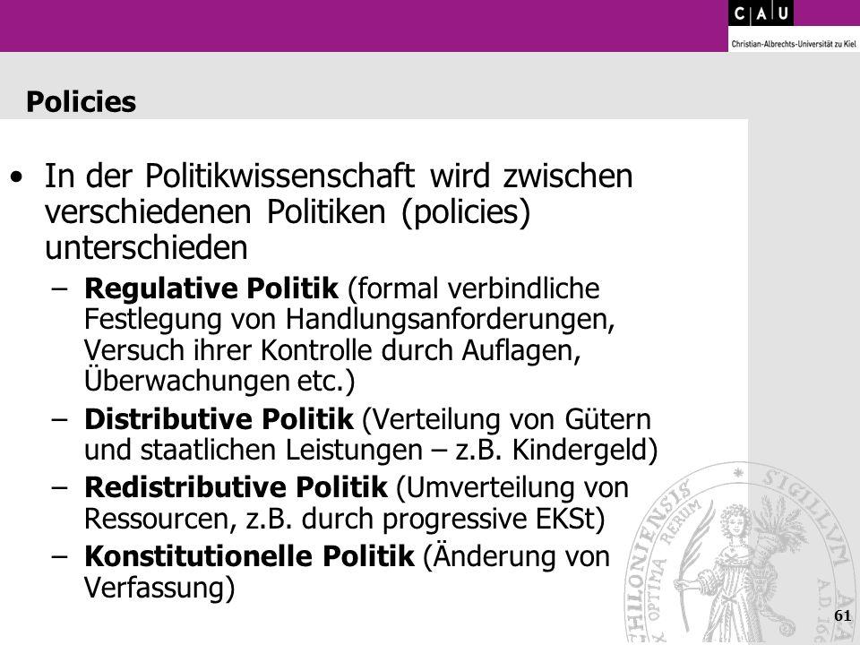 Policies In der Politikwissenschaft wird zwischen verschiedenen Politiken (policies) unterschieden.