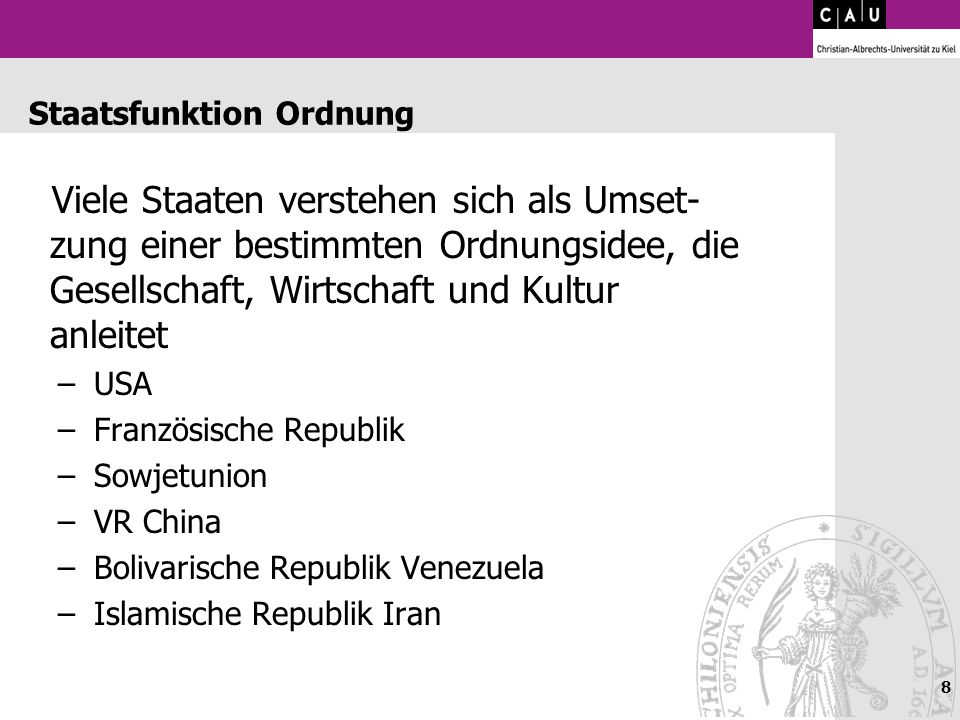 Staatsfunktion Ordnung