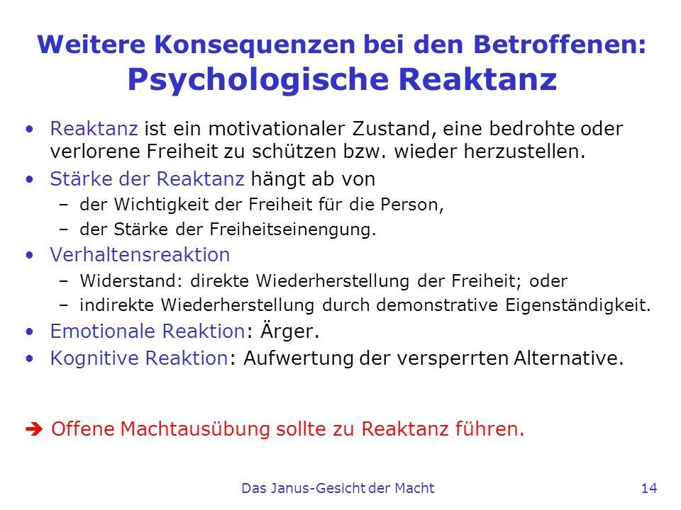 Weitere Konsequenzen bei den Betroffenen: Psychologische Reaktanz