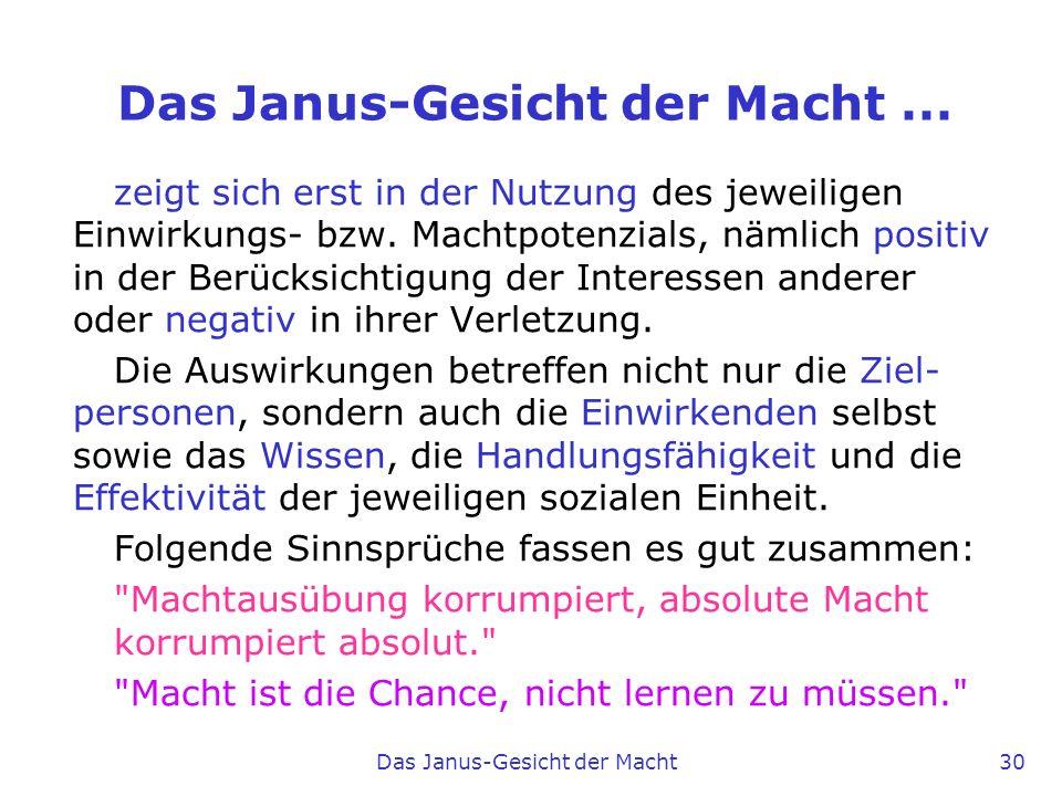 Das Janus-Gesicht der Macht ...