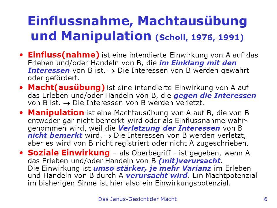 Einflussnahme, Machtausübung und Manipulation (Scholl, 1976, 1991)