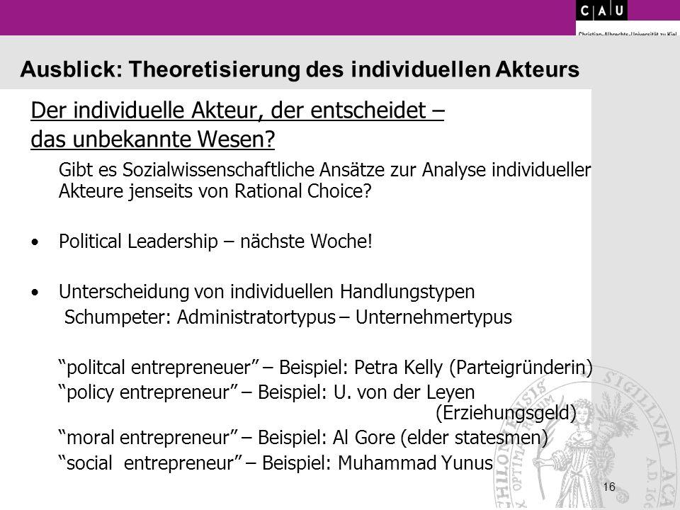 Ausblick: Theoretisierung des individuellen Akteurs