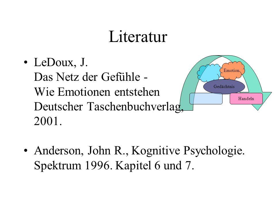 Literatur LeDoux, J. Das Netz der Gefühle - Wie Emotionen entstehen Deutscher Taschenbuchverlag, 2001.