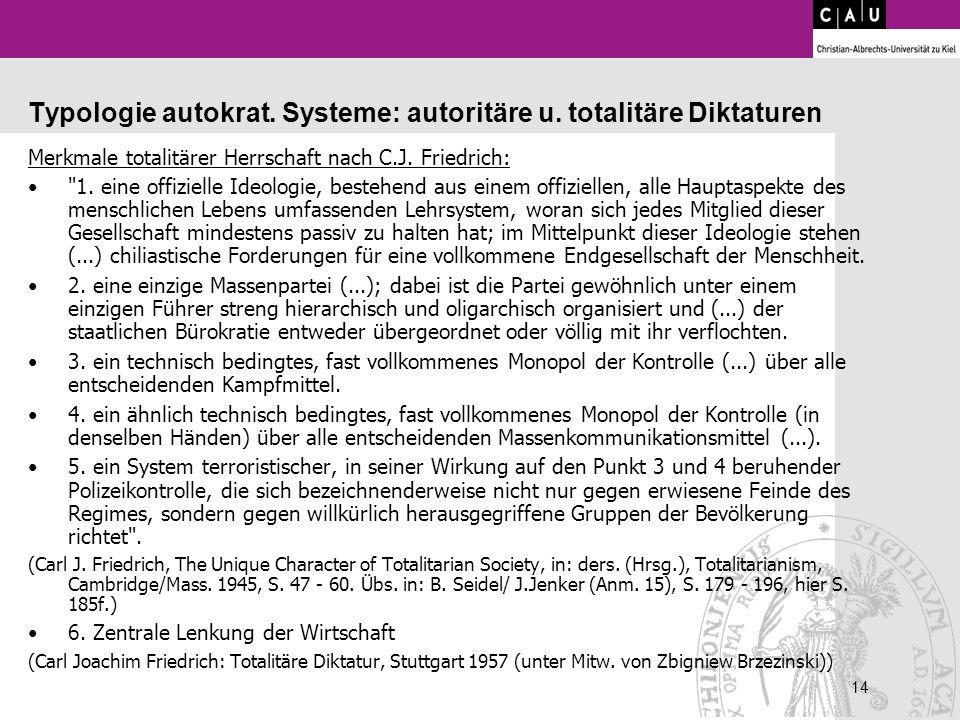 Typologie autokrat. Systeme: autoritäre u. totalitäre Diktaturen