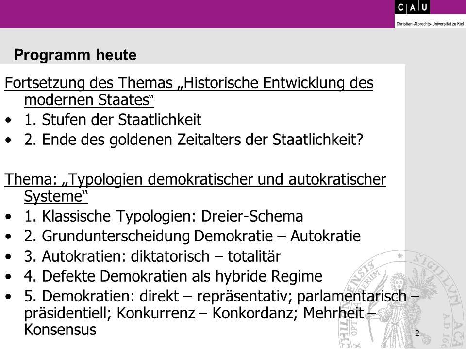 """Fortsetzung des Themas """"Historische Entwicklung des modernen Staates"""