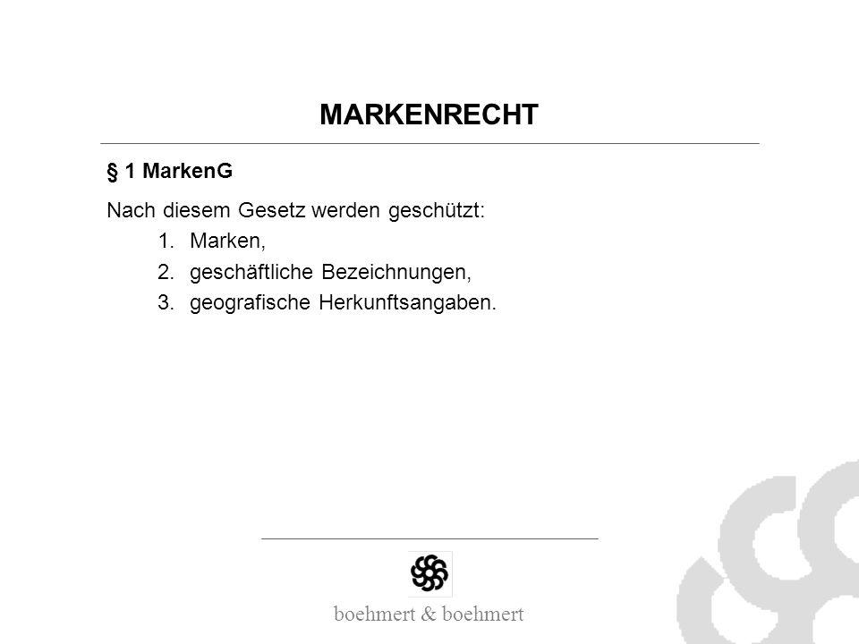 MARKENRECHT § 1 MarkenG Nach diesem Gesetz werden geschützt: Marken,