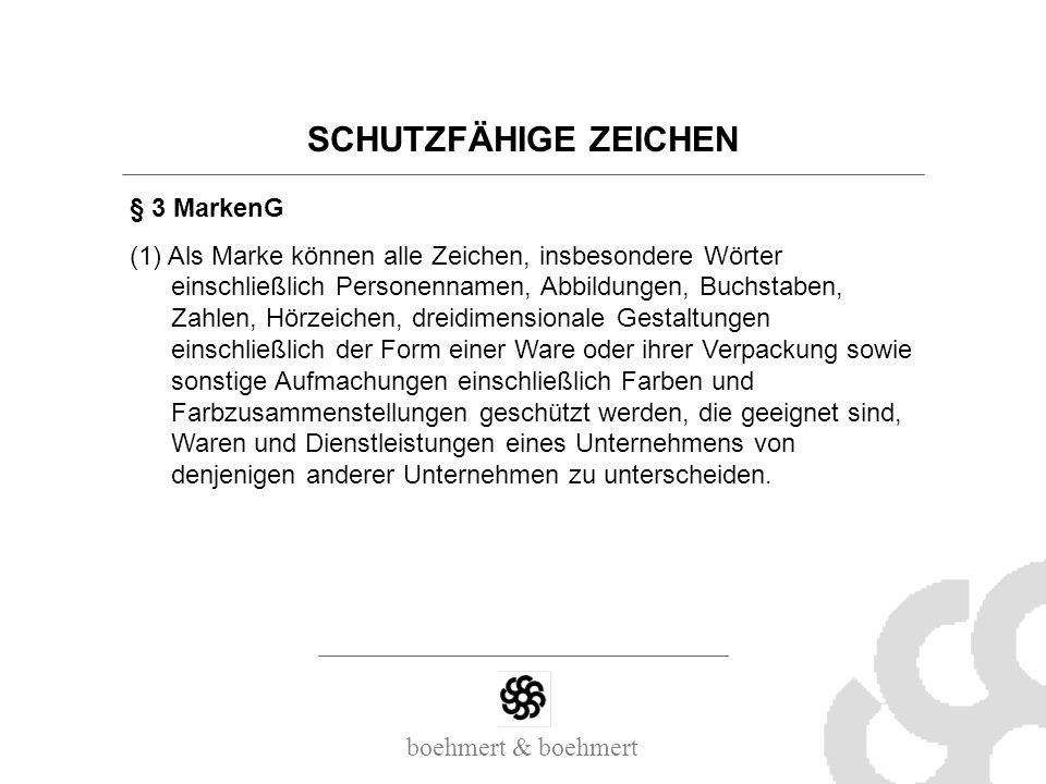 SCHUTZFÄHIGE ZEICHEN § 3 MarkenG