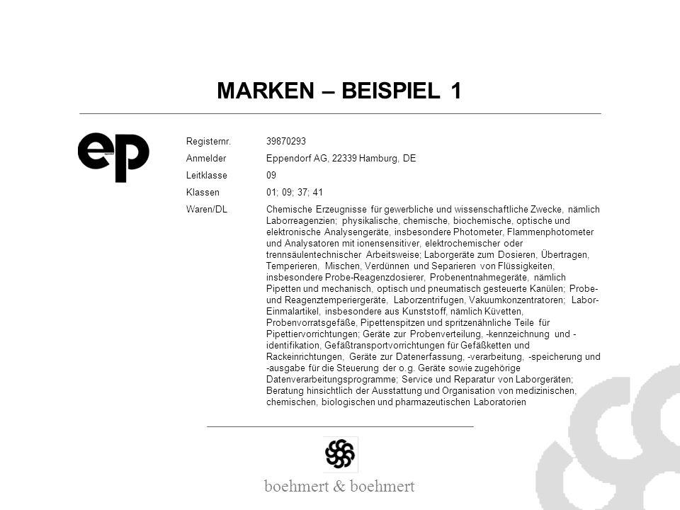 MARKEN – BEISPIEL 1 Registernr. 39870293