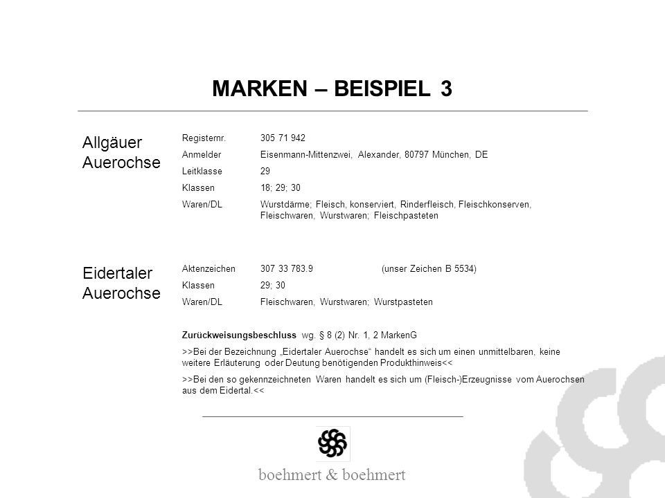 MARKEN – BEISPIEL 3 Allgäuer Auerochse Eidertaler Auerochse