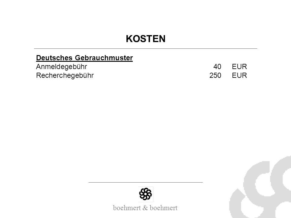 KOSTEN Deutsches Gebrauchmuster Anmeldegebühr 40 EUR