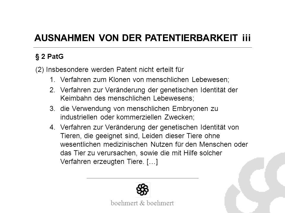 AUSNAHMEN VON DER PATENTIERBARKEIT iii