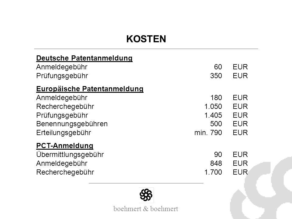 KOSTEN Deutsche Patentanmeldung Anmeldegebühr 60 EUR