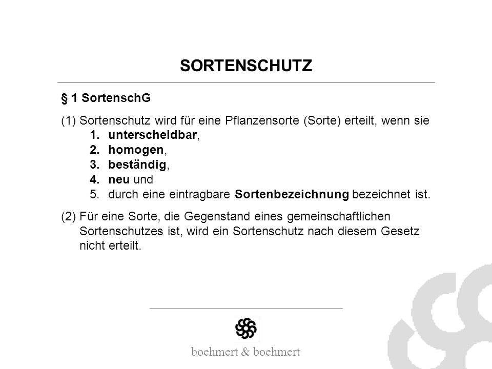 SORTENSCHUTZ § 1 SortenschG