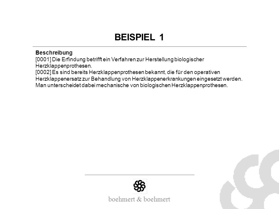 BEISPIEL 1 Beschreibung