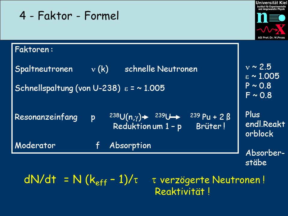 dN/dt = N (keff – 1)/  verzögerte Neutronen !
