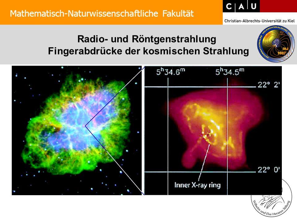 Radio- und Röntgenstrahlung Fingerabdrücke der kosmischen Strahlung