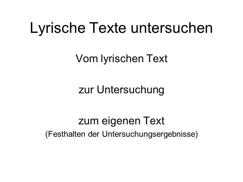 Lyrische Texte untersuchen